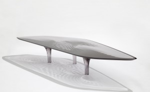 Zaha Hadid's 'Liquid Glacial' table, represented by the David Gill Gallery, showing in the Collectible Design Hall