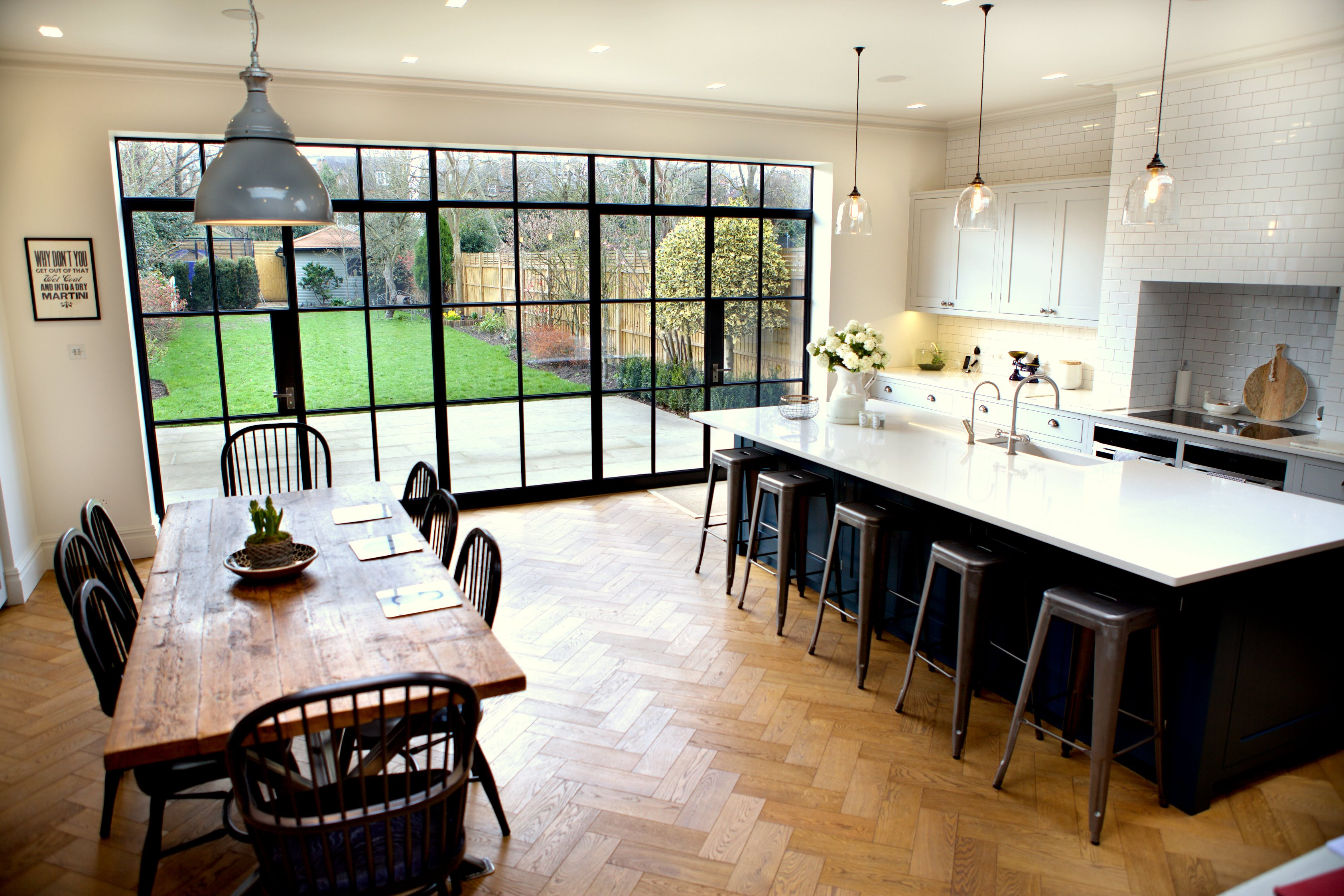 Steel windows bring industrial style to domestic extension for Kitchen design 6m x 3m
